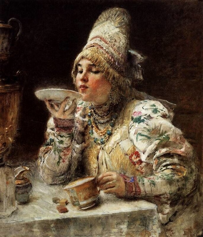 Константин Маковский, За чаем
