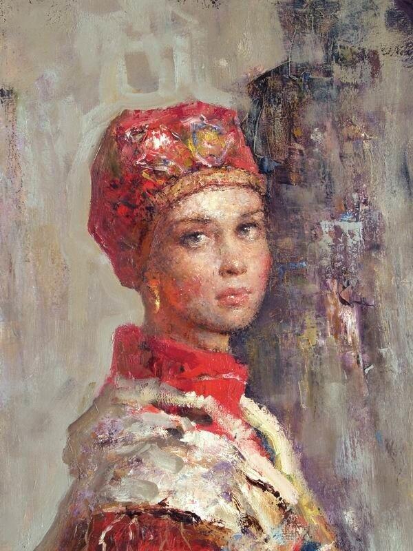 Андрей Карташов, Девушка в красном кокошнике, фрагмент