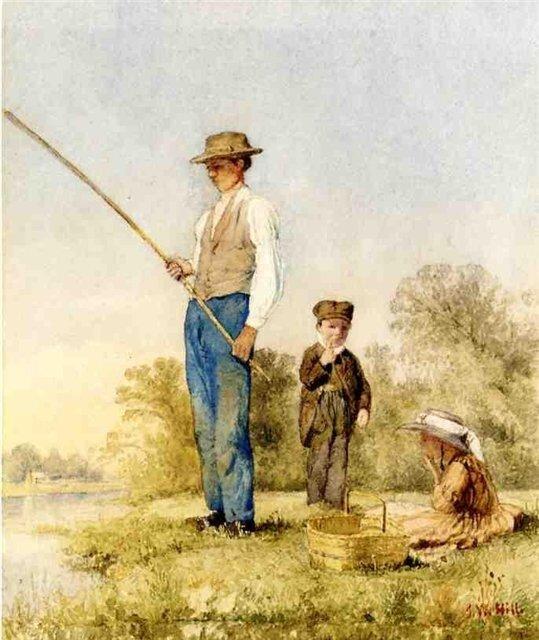 Джон Уильям Хилл Рыбалка на озере 1865 г.