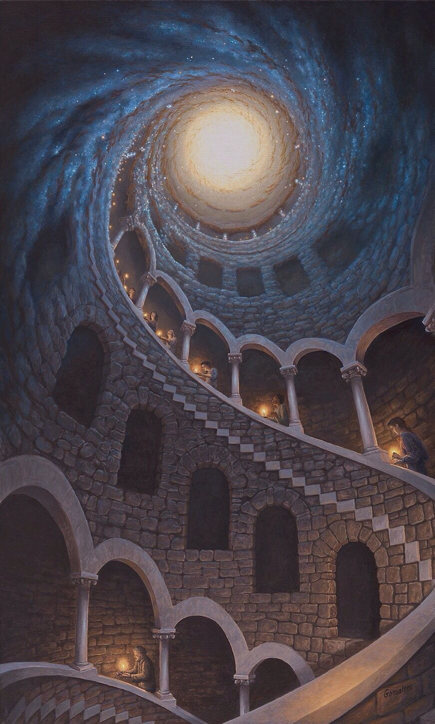 Narrative Optical Illusions Painted by Rob Gonsalves
