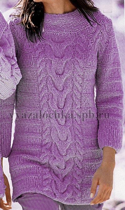 джемпер с косой спицами схема пуловера с косой