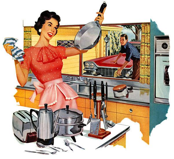 Мужчины и женщины, их быт и отдых на рекламных постерах 50-х год.