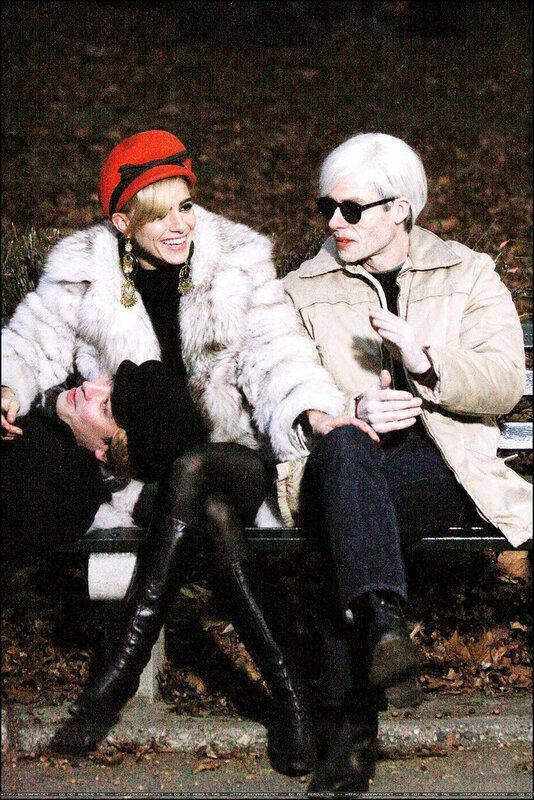 Sienna Miller as Edie Sedgwick and Guy Pearce as Andy Warhol starring in Factory Girl