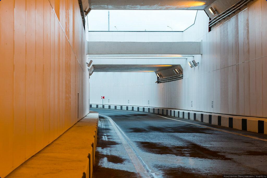 Участок тоннеля между МКАД и въездом на Рязанский проспект с внутренней стороны МКАД