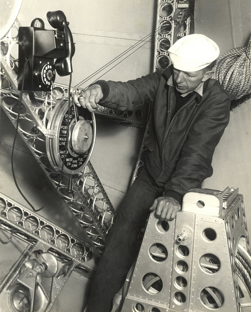Sailor at the Bow Mooring Post on a Dirigible