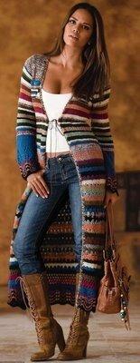пальто крючком стиль хиппи винтаж
