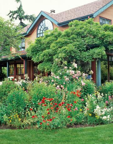 Красивый сад с прудом