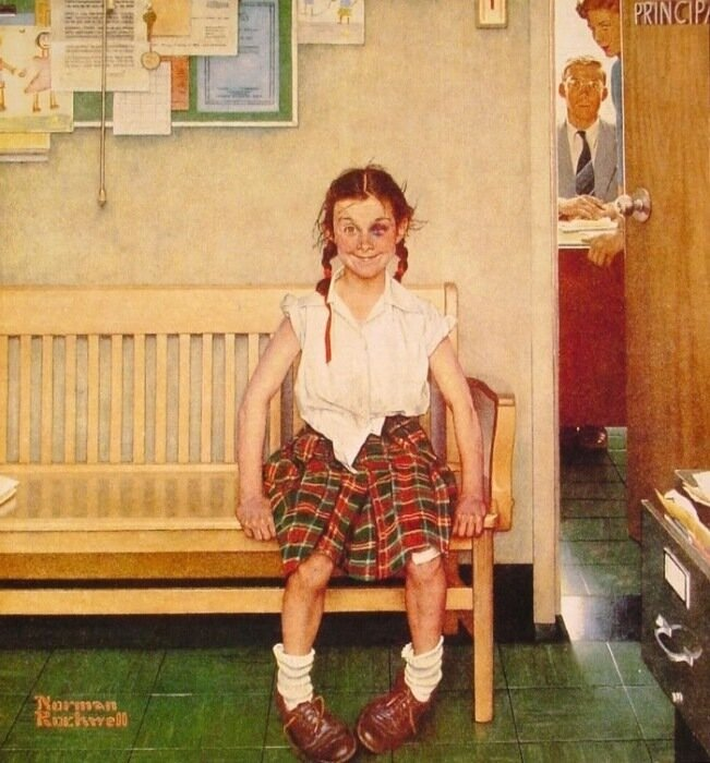 Girl with Black Eye. Norman Rockwell