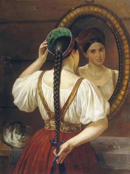 Ф. Будкин, Девушка перед зеркалом