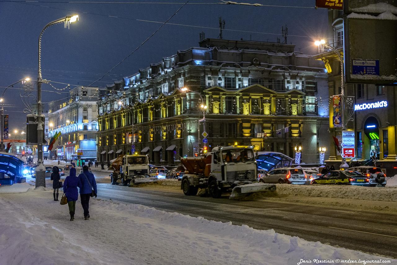 Минск снежный. Даниелла. проспект Независимости