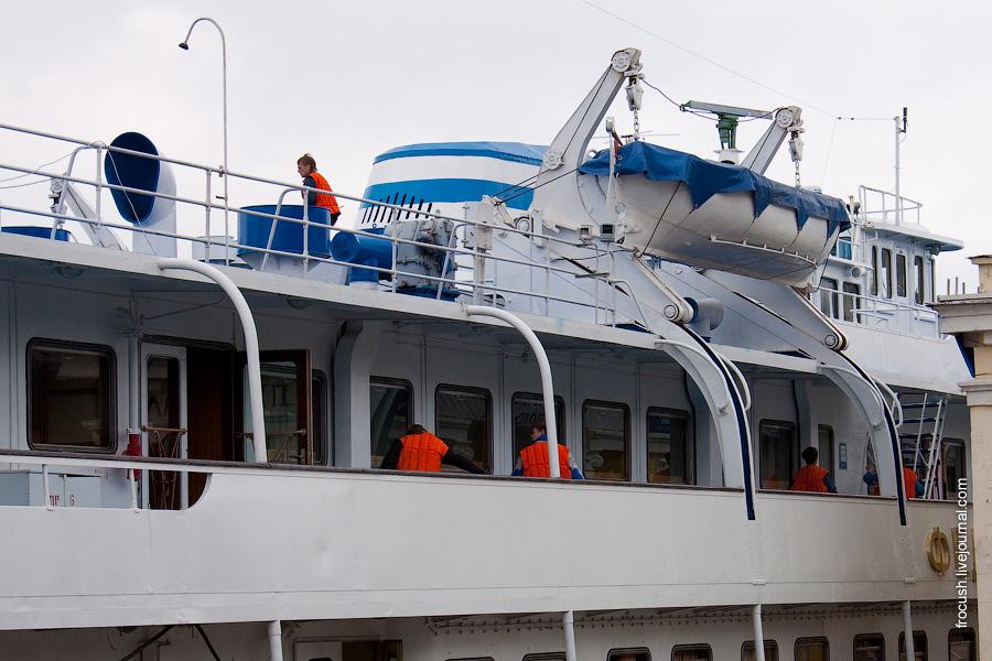 30 апреля 2010 года. На теплоходе «Федор Абрамов» проходит учебная шлюпочная тревога в Северном речном порту Москвы