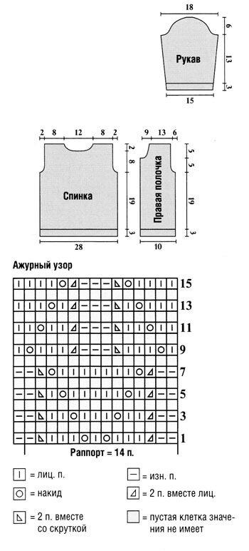 Схема кофточка для малыша 5-6 месяцев