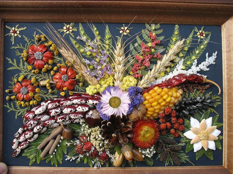 Картины из осенних цветов своими руками 9