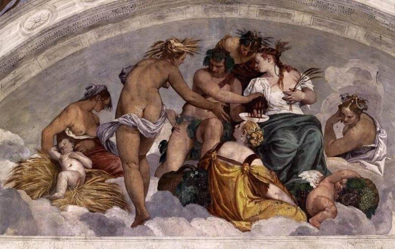 Веронезе Паоло, Вакх и Церера. Роспись виллы Барбаро-Вольпи в Мазере . 1560—61Фреска.Вилла Барбаро-Вольпи, Мазер