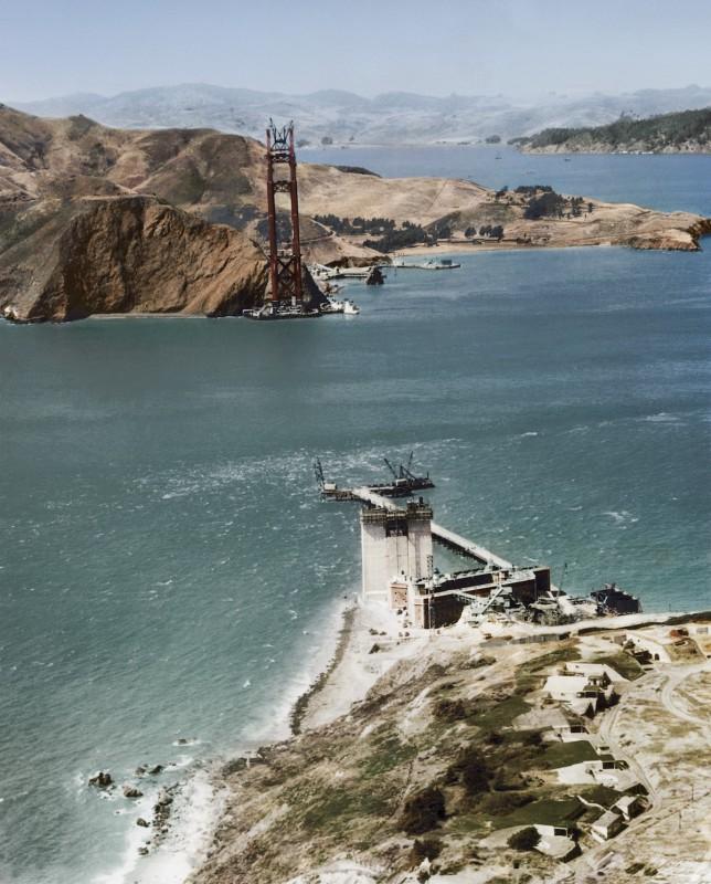 1934 год. Строительство висячего моста Золотые Ворота, Сан-Франциско.