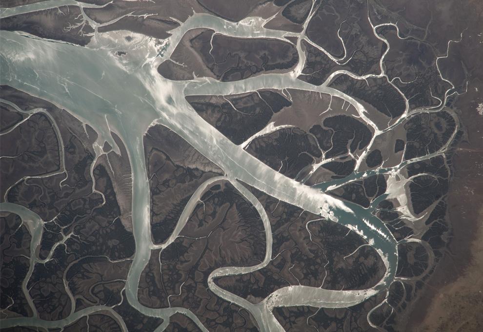 15) Приливно-отливные каналы рядом с иранским острово Кешм. (NASA/JSC)