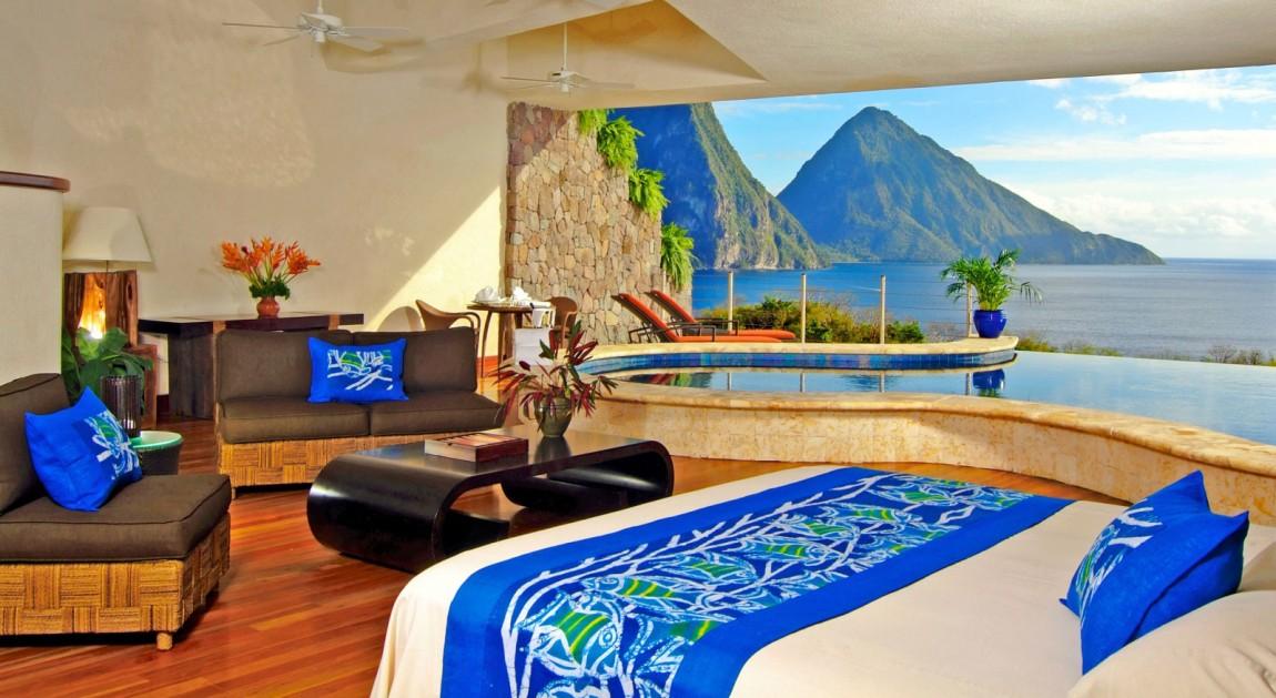 Курортный отель Jade Mountain расположен в Кастри, Сент-Люсия. Комплекс окружен роскошным ландшафтом