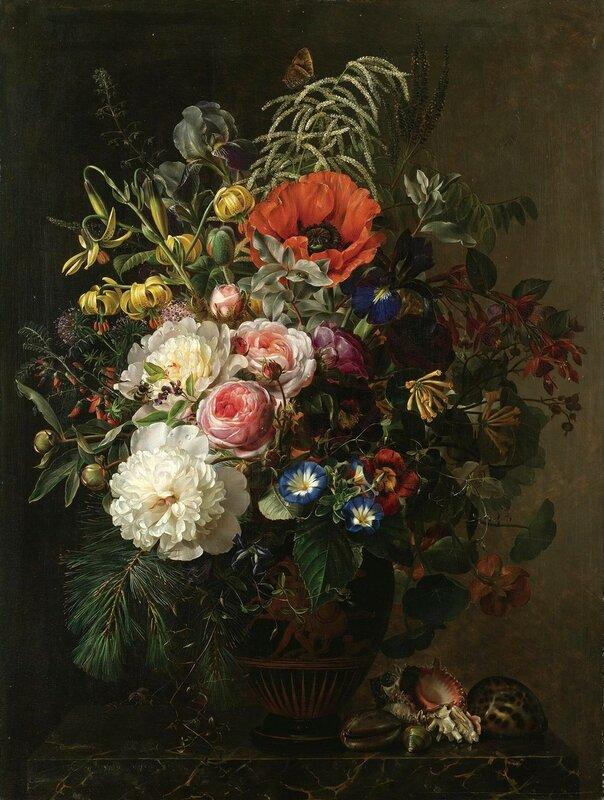 Натюрморт с цветами в греческой вазе