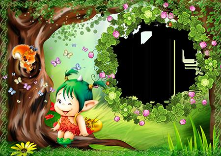 Детская рамка с сидящей на корне дерева девочкой-эльфом в лесу и белочкой