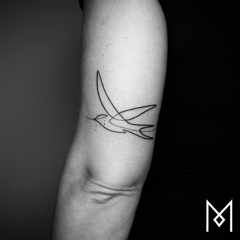 New Minimalistic Single Line Tattoos by Mo Ganji