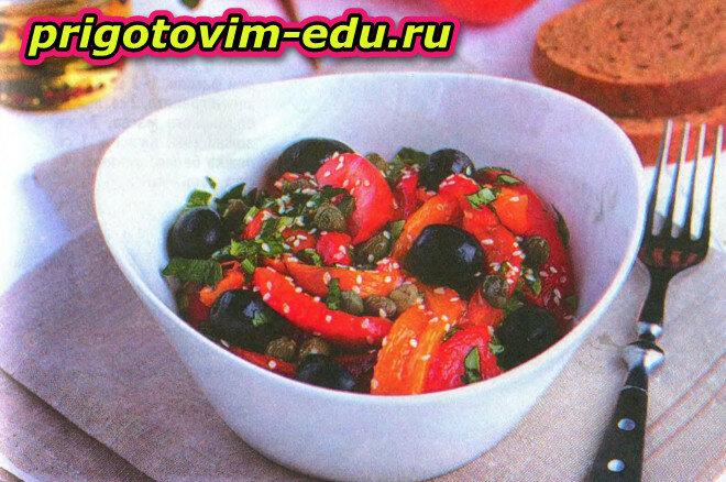 Теплый салат с маслинами