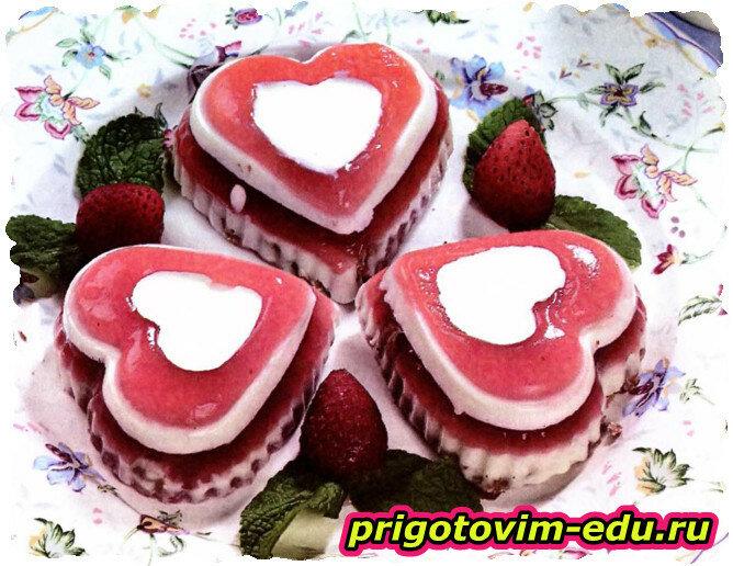 Желейные клубничные пирожные
