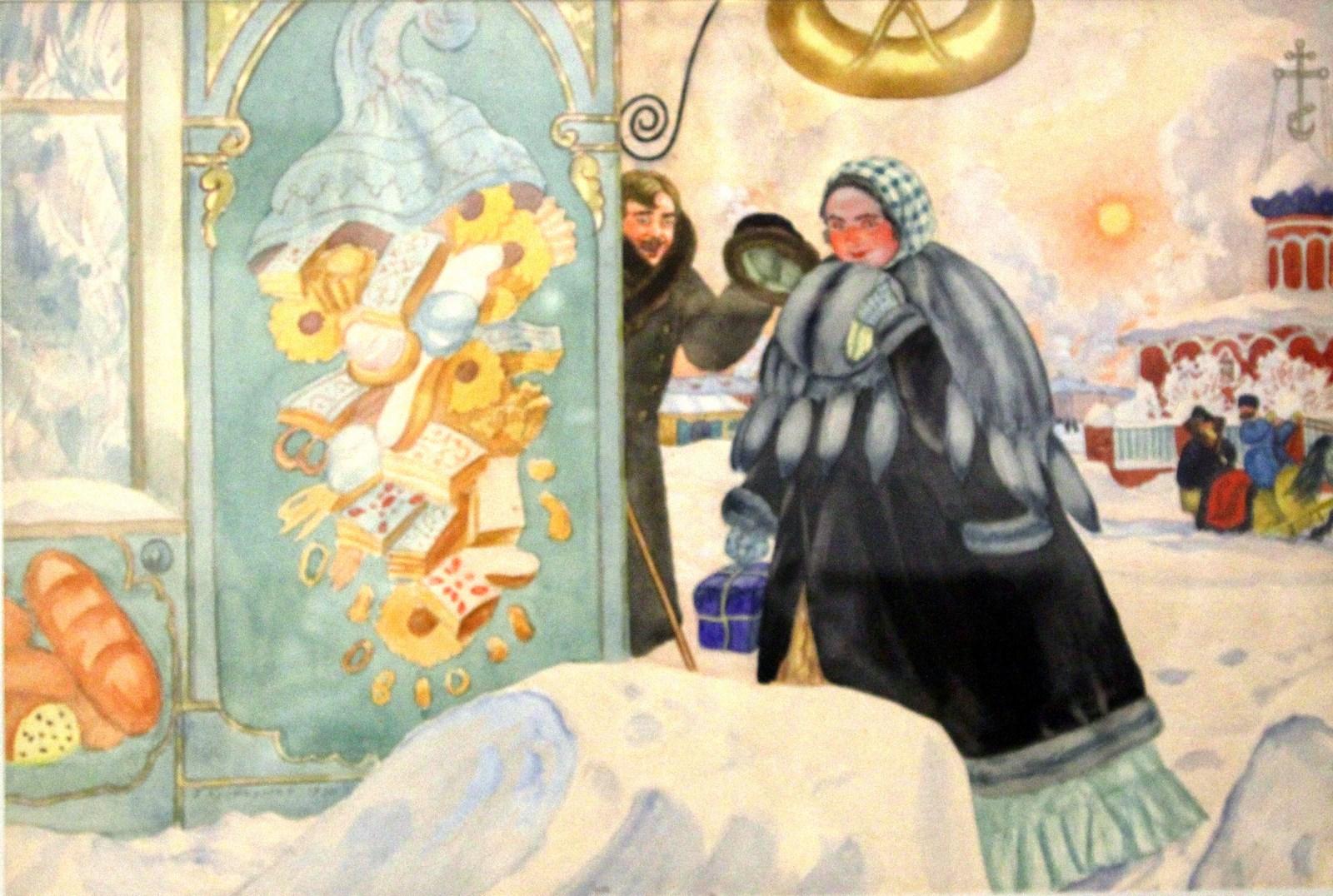 Кустодиев Б.М. 1878-1927 Встреча на углу. 1920 Бумага, акварель. Национальный художественный музей Республики Беларусь