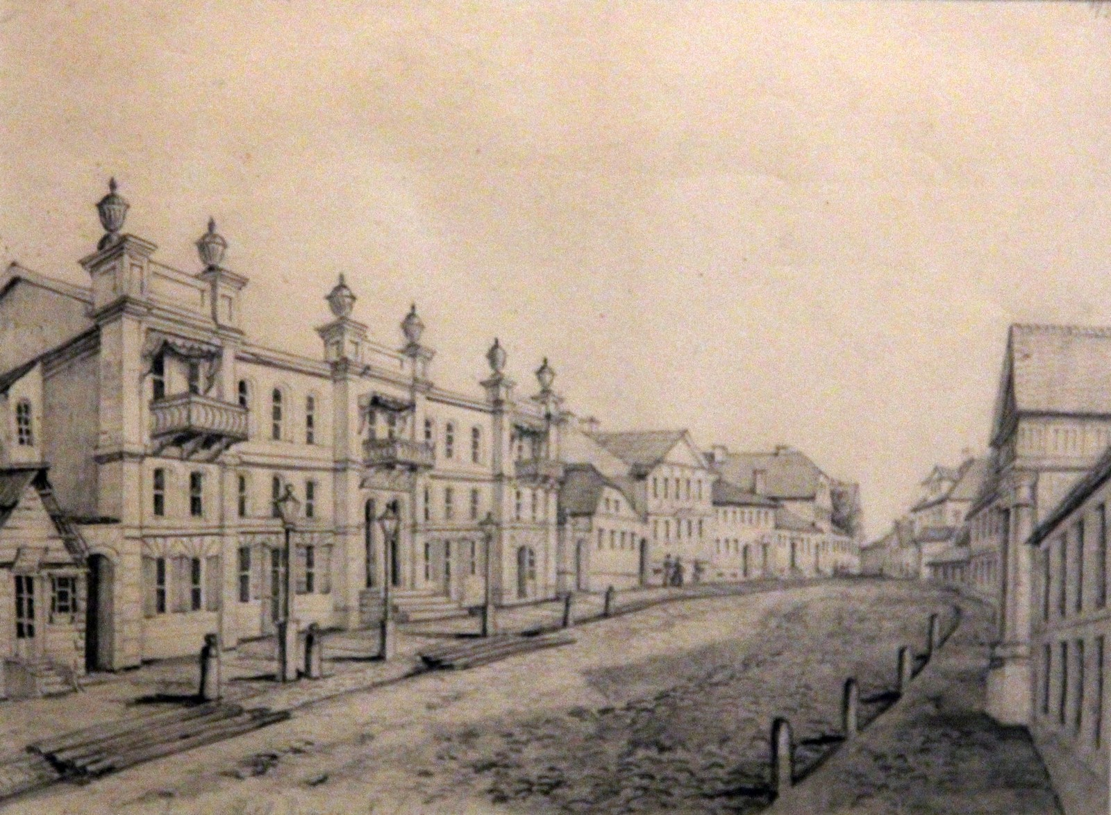 Орда Наполеон. 1807-1883 Гродно. Доминиканская улица с отелем Ромера. 1867 Рисунок карандашом Национальный музей в Кракове