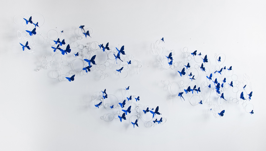 Cirrus , 2015. Powder coated steel, found aluminum cans, wire, blue Flashe; Overall: 114 x 37 x 8 in
