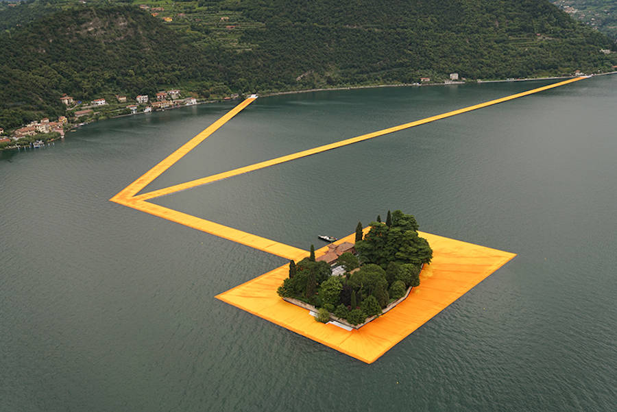 Orange Floating Path Installation in the Middle of an Italian Lake