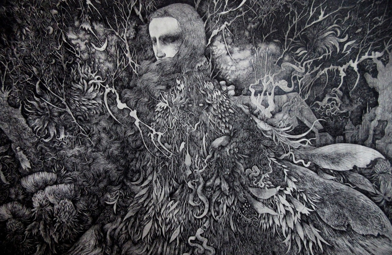 Nao Ikuma is a Japanese artist who engraves beautifully dark toned etchings by combining humans with