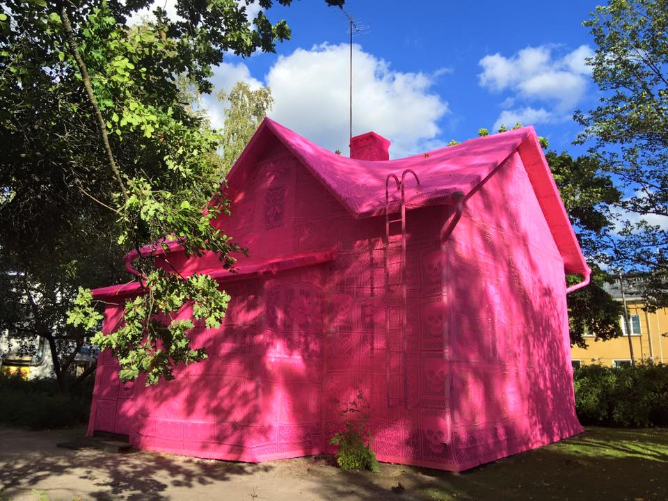 Artist Olek Covers a House in Finland with Pink Crochet