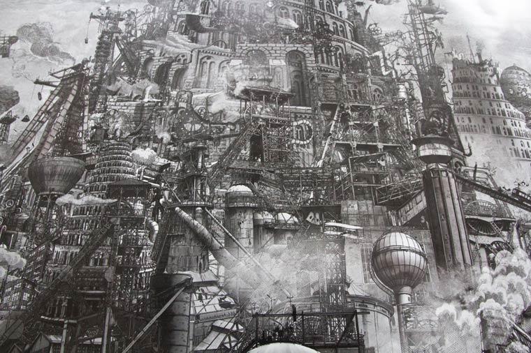 Steam Babel - Une impressionnante creation entre illustration et collage numerique