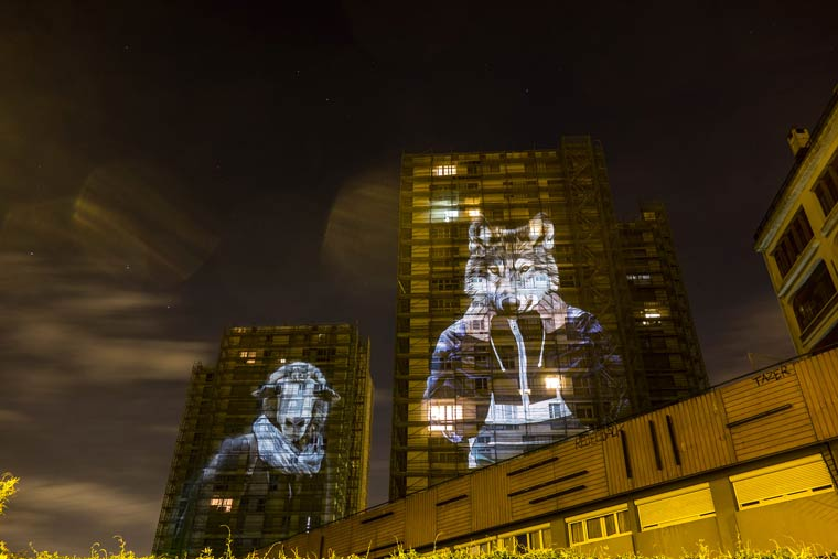 Urban Safari - Projecting pictures of giant animals in the streets of Paris