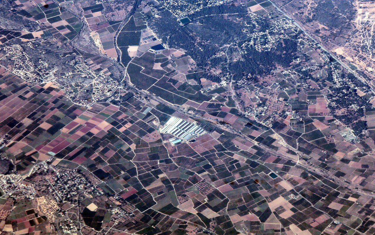 Valencian lowlands, view from an airplane