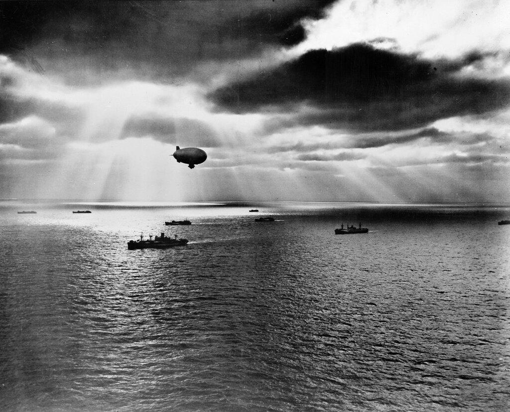 USN blimp over Atlantic convoy June 21st 1943.