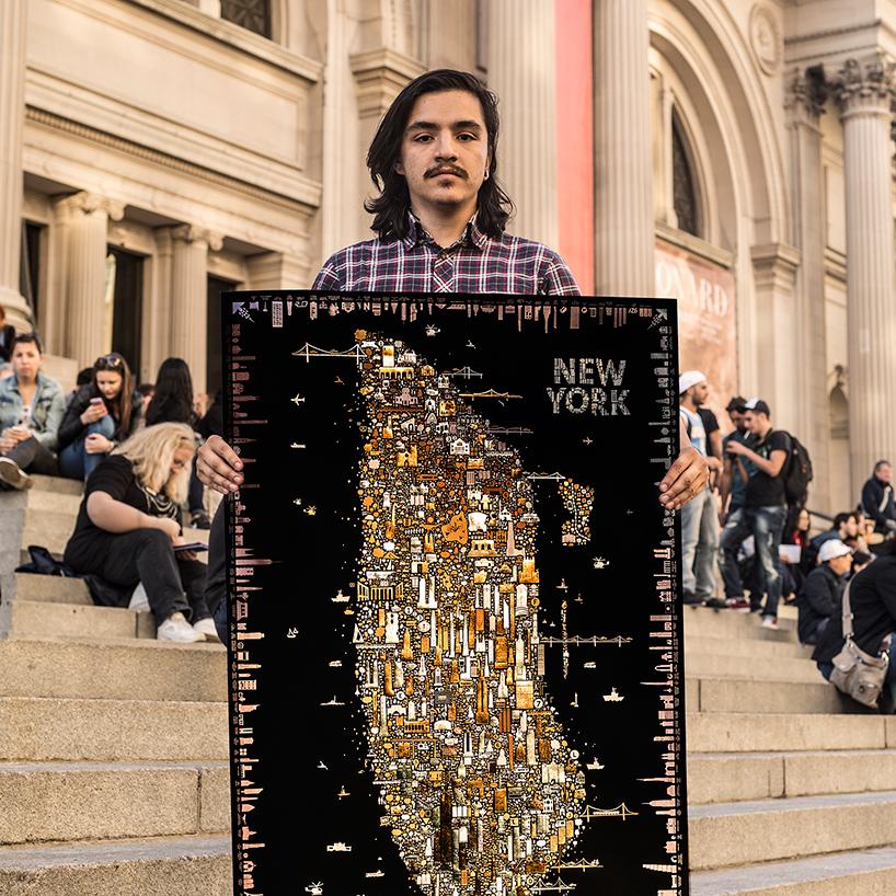 Графический постер ночного Нью-Йорка