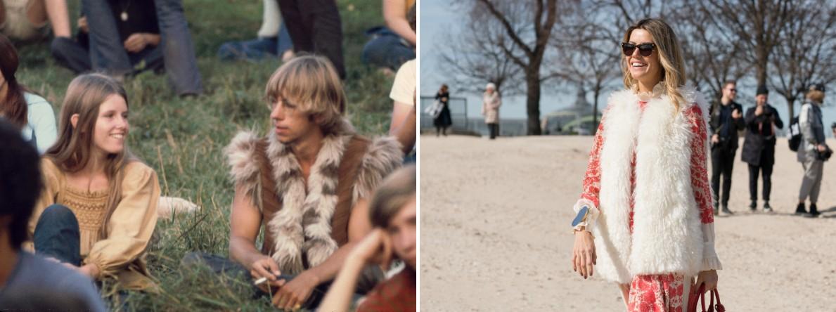 Крупный план молодых людей, сидящих на траве недалеко от «свободной сцены». / Гостья недели моды в П