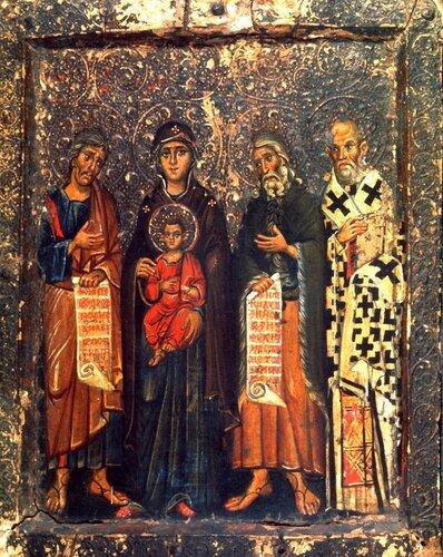 Богоматерь Кириотисса, Святые Пророк Моисей, Пророк Илия, Святитель Григорий Богослов. Икона середины XIII века. Монастырь Святой Екатерины на Синае.