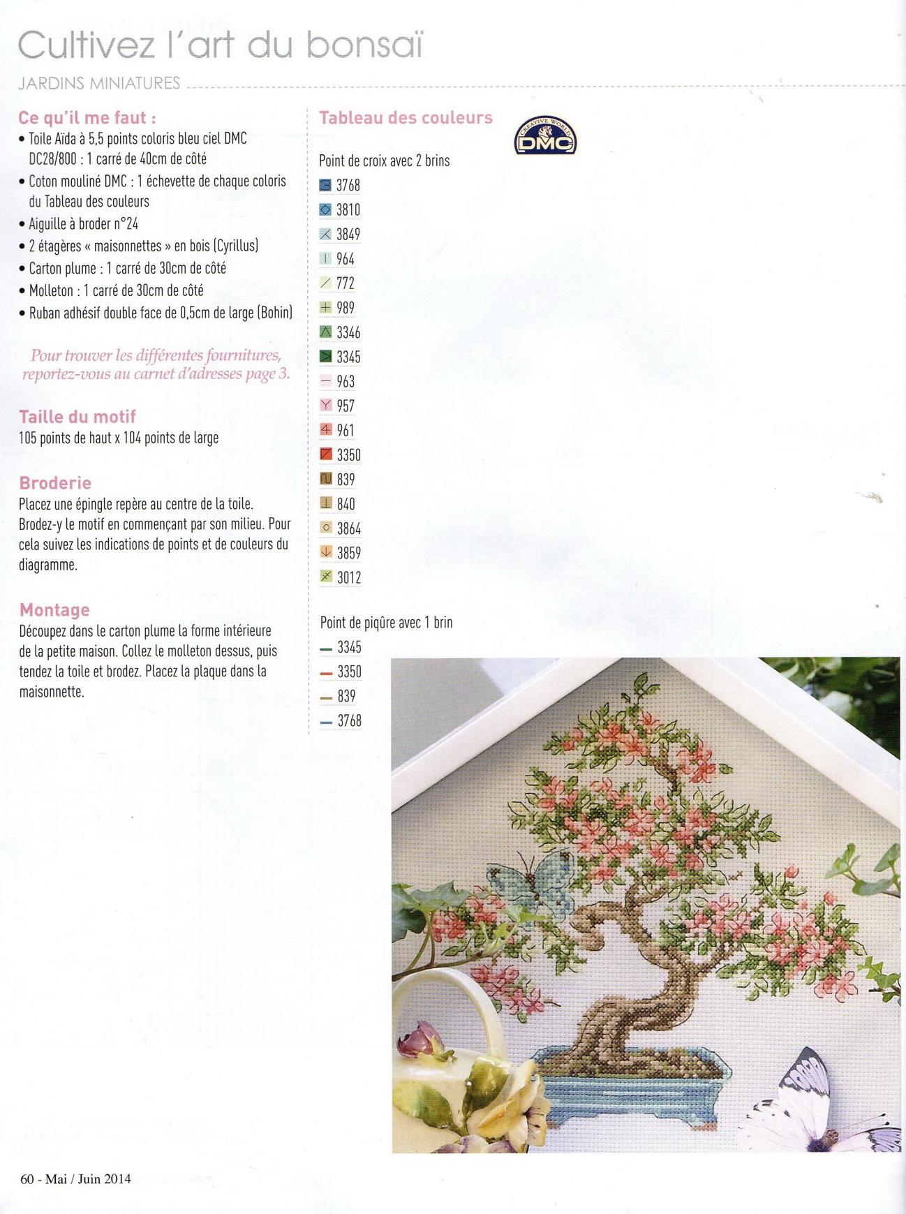 Цветочный бонсай. Схема вышивки крестом