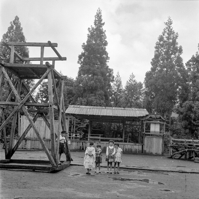 Kids & Large Wooden Frame - 1950s Japan