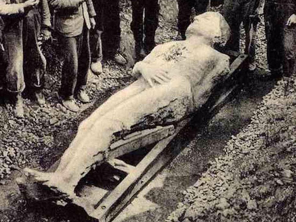 Гигант из Кардиффа, 1869 год Группа рабочих копала яму на заднем дворе одного из дворов Кардиффа, шт