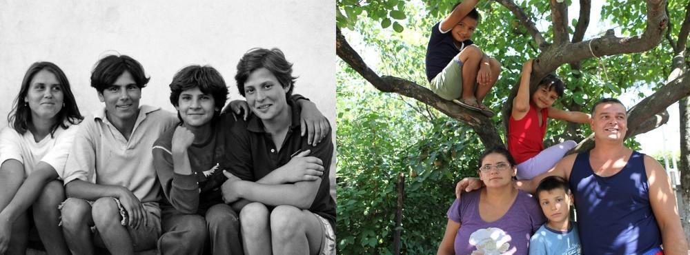 Йоане (вторая справа) было 12 лет в 1993 году. Второе фото было сделано в селе Поприкани в 2011, на