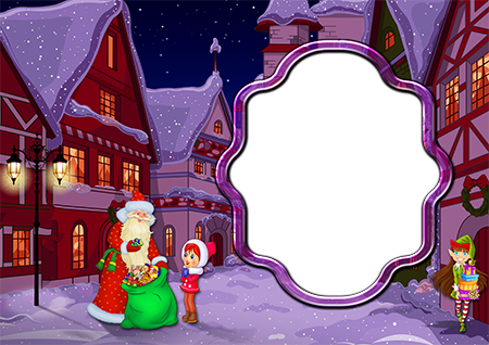 Рамка для фото на Новый год с Дедом морозом, девочкой и эльфом на улице около домов