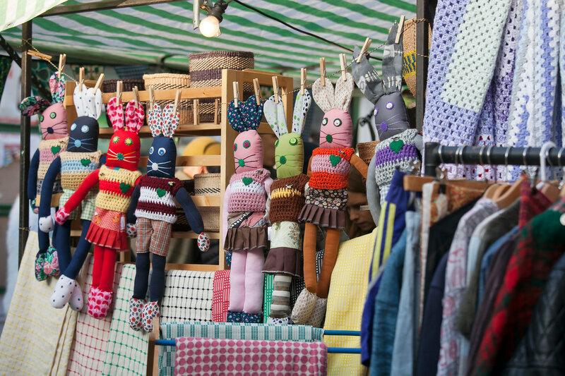 LONDON, ENGLAND, UK - November 4, 2016: traditional flea market at Brick Lane. Brick Lane flea market operates every Sunday.