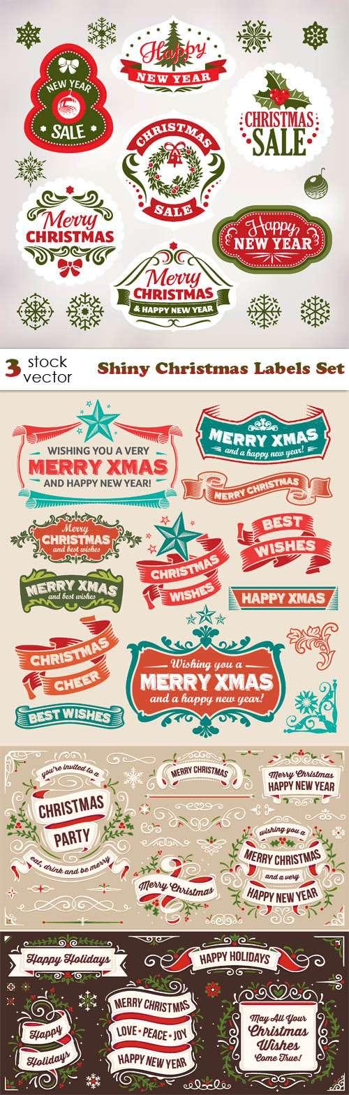Новый год и Рождество - Этикетки, наклейки, элементы