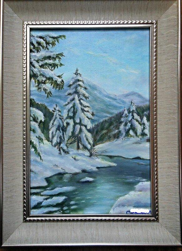 Зимний пейзаж с елями.