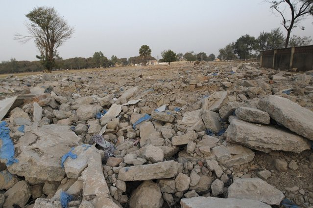 Rubble is all that remains at the site of a Shi'ite mosque that was demolished in Zaria, Kaduna