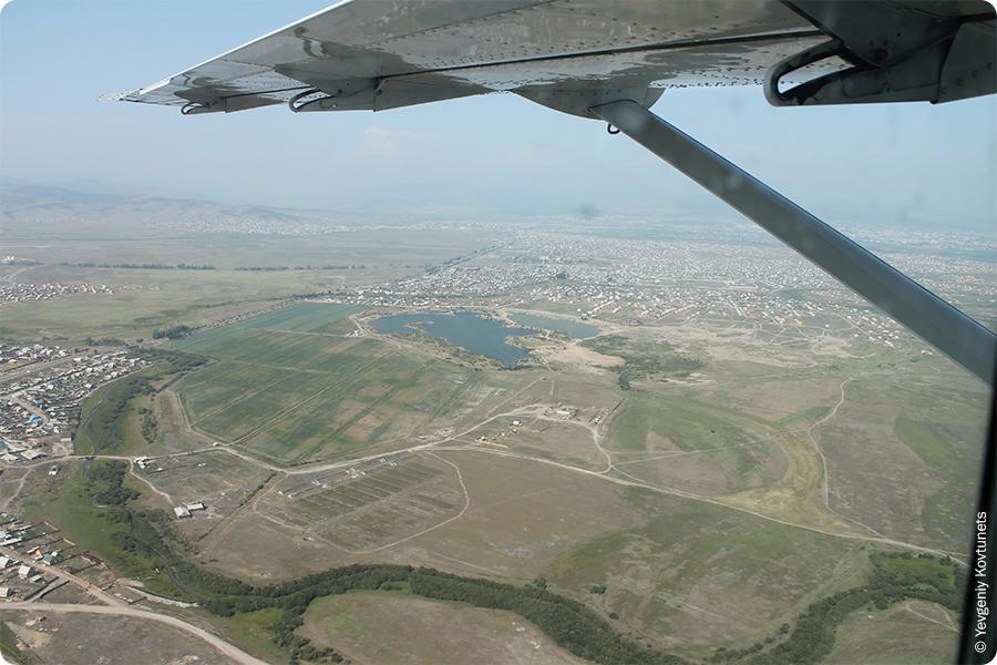 Вид из самолета на Гурульбинские озёра, Иволгинский район, окрестности г. Улан-Удэ