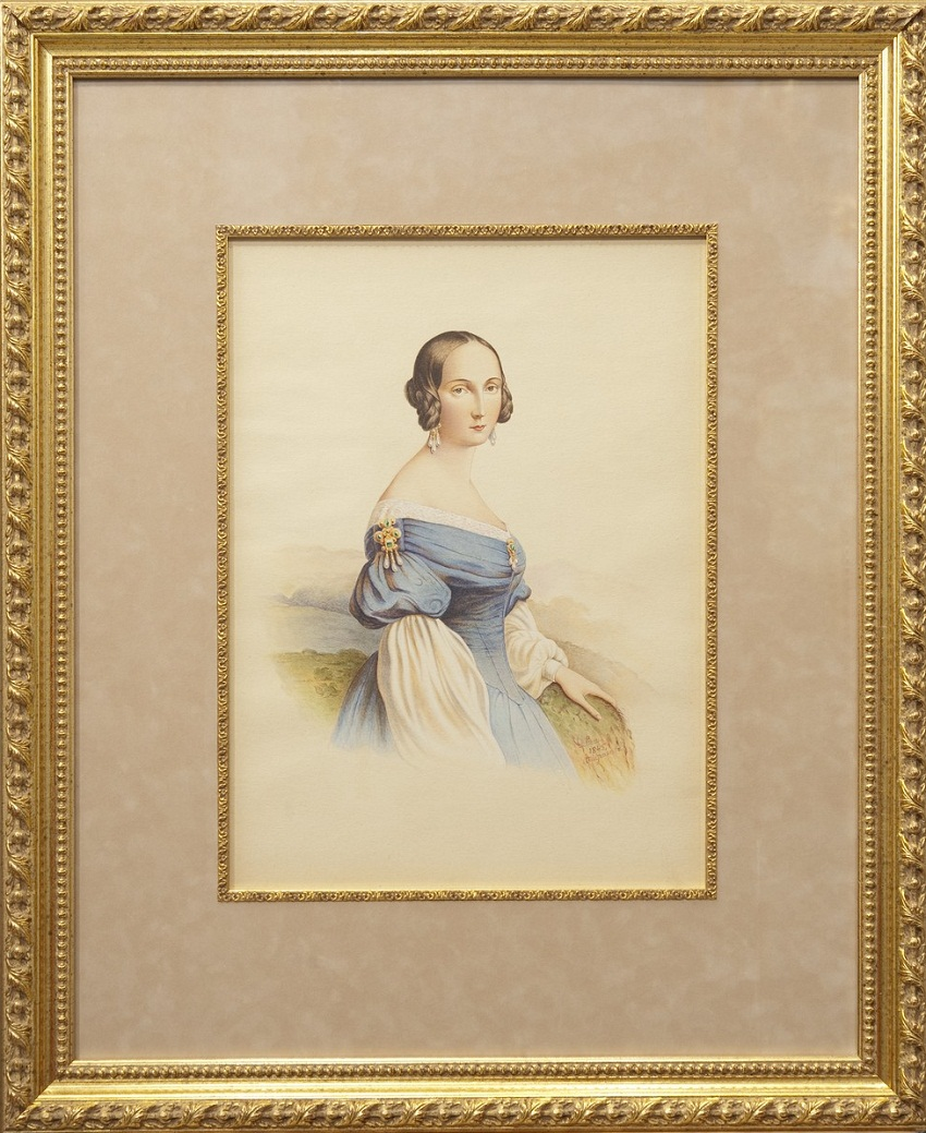 «Портрет дамы с жемчужными украшениями» Бумага, акварель, белила, подпись и дата: «Roma 1845 Тырановъ»
